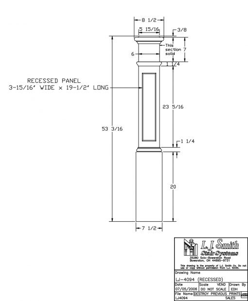 "LJ-4094: 7 1/2"" Recessed Panel Box Newel Post Drawing"