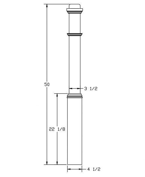 "LJ-4175-50: 4 1/2"" Box Newel Post Drawing"