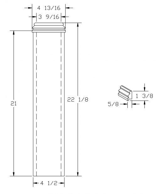 "LJ-4175SL: 4 1/2"" Box Newel Post Base Wrap Drawing"