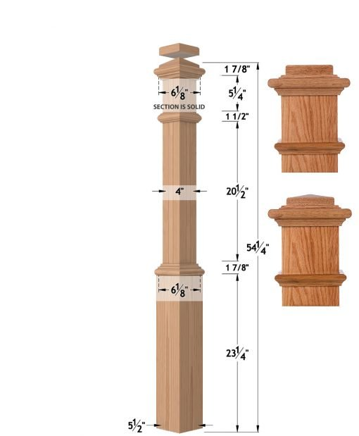"""LJ-4391: 5 1/2"""" Box Newel Post with Interchangeable Cap Dimensions"""