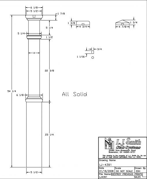 """LJ-4391: 5 1/2"""" Box Newel Post with Interchangeable Cap Drawing"""