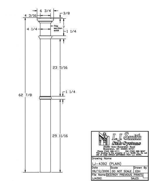"""LJ-4392: 4 1/4"""" Intermediate Box Newel Post Drawing"""