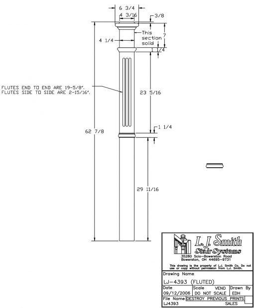 """LJ-4393: 4 1/4"""" Fluted Intermediate Box Newel Post Drawing"""