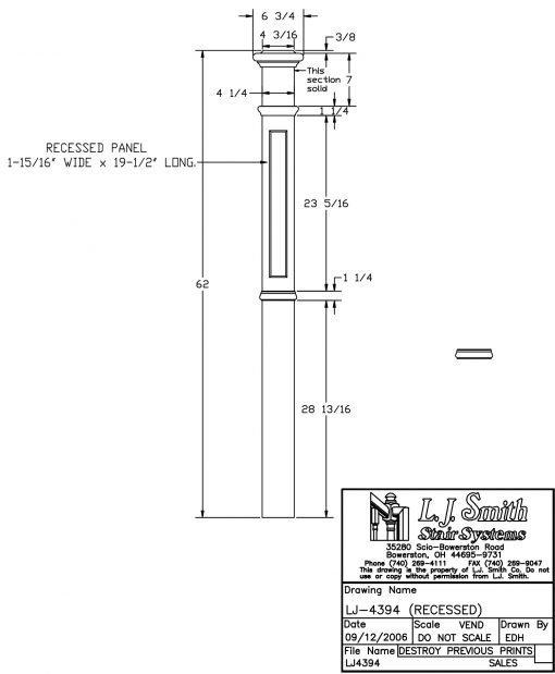 "LJ-4394: 4 1/4"" Recessed Panel Intermediate Box Newel Post Drawing"