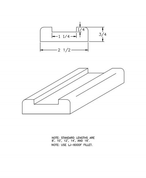 "LJ-6000S: 1 1/4"" Shoe Rail Drawing"