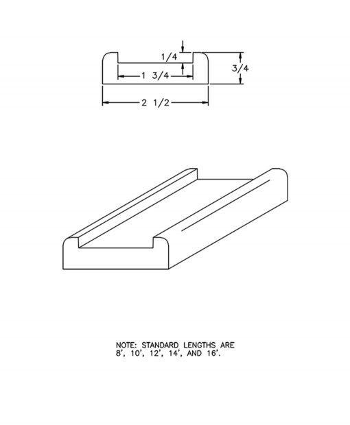 "LJ-6001S: 1 3/4"" Shoe Rail Drawing"