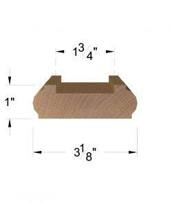 "LJ-6006: 1 3/4"" Shoe Rail Dimensions"