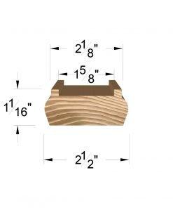 """LJ-6006-H: 1 5/8"""" Hemlock Shoe Rail Dimensions"""