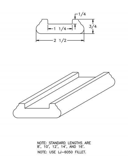 "LJ-6045: 1 1/4"" Shoe Rail Drawing"