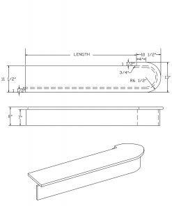 LJ-8010: Single Bullnose Starting Step  Cad Drawing