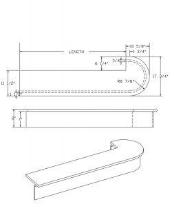 LJ-8030: Single Bullnose Starting Step  Cad Drawing
