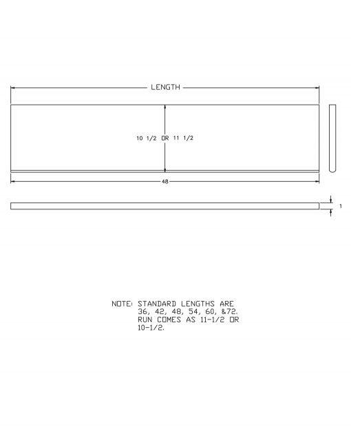 "LJ-807010X: 10 1/2"" Stair Tread CAD Drawing"