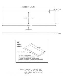 """LJ-807010X1RV: 10 1/2"""" Reversible Tread with Mitered Return on One End - CAD Drawing"""