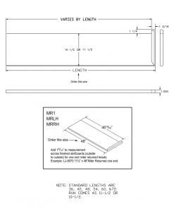 """LJ-807011X1RV: 11 1/2"""" Reversible Tread with Mitered Return on One End - CAD Drawing"""
