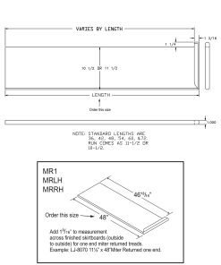 """LJ-807011XLH: 11 1/2"""" Stair Tread with Left Hand Mitered Returns - CAD Drawing"""