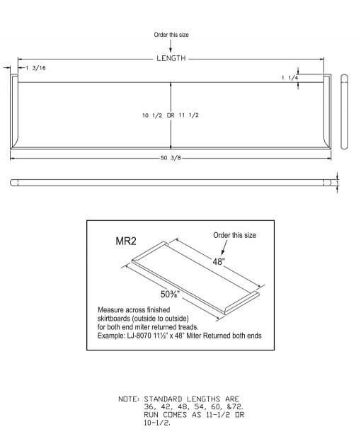 """LJ-807011XMR2: 11 1/2"""" Stair Tread with Mitered Returns On Both Ends - CAD Drawing"""