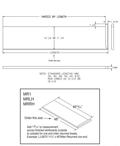 """LJ-807011XRH: 11 1/2"""" Stair Tread with Right Hand Mitered Returns - CAD Drawing"""