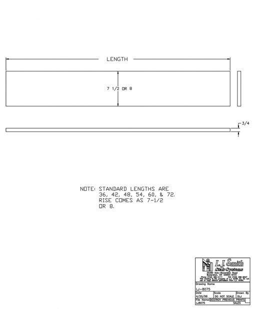 "LJ-80757X: 7 1/2"" Stair Riser CAD Drawing"