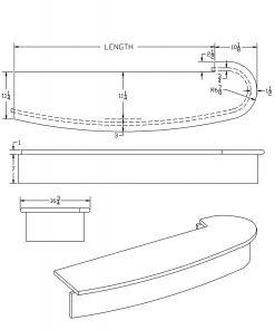 LJ-8210: Bowed Single Bullnose Starting Step  Cad Drawing