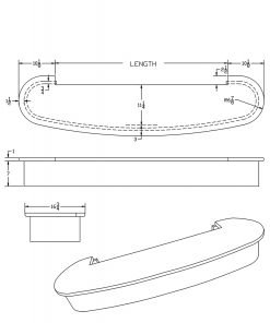 """LJ-8215-48: 48"""" Bowed Double Bullnose Starting Step  Cad Drawing"""