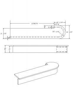 LJ-8310: Single Bullnose Starting Step  Cad Drawing