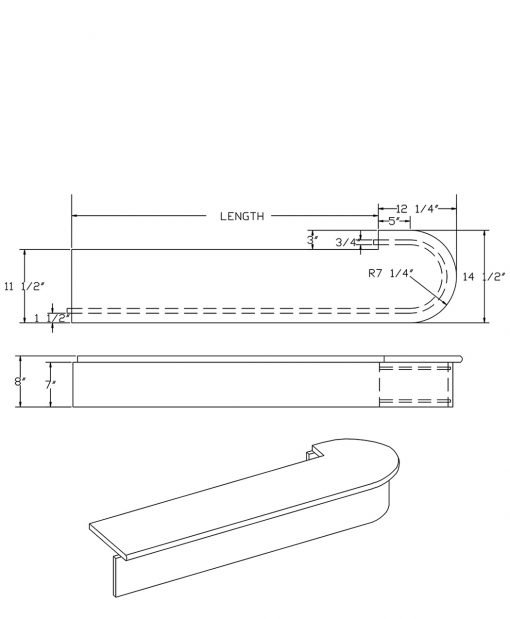 LJ-8315: Double Bullnose Starting Step  Cad Drawing