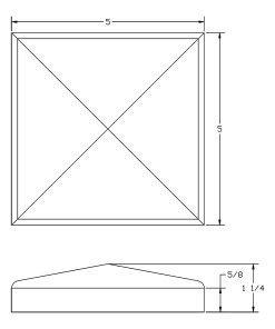 LJ-9001: Box Newel Post Chamfered Top Plate - CAD Drawing