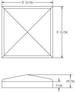 LJ-9301: Box Newel Post Chamfered Top Plate - CAD Drawing