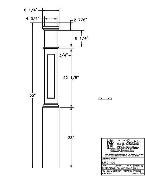 "LJRC-4091: 6 1/4"" Recessed Panel Box Newel Post Drawing"