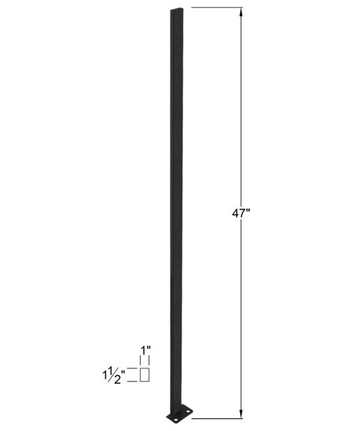 """P-POST2H: 47"""" Panel Post for Level Runs and Open Tread Stairs - 2 Hole Base Plate Dimensions"""