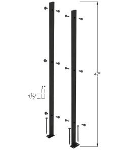 """P-POSTKIT2H: 47"""" Panel Post Kit for Level Runs and Open Tread Stairs - 2 Hole Base Plates Dimensions"""