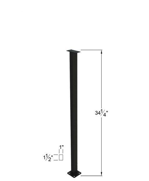 """PL-C39NWL4H: 39"""" Level Panel Spacer Newel for 39"""" Rail Height (Curb Wall - 39"""" Rail Height) - 4 Hole Base Plate Dimensions"""