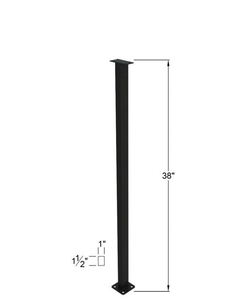 """PL-C43NWL4H: 43"""" Level Panel Spacer Newel for 39"""" Rail Height (Curb Wall - 39"""" Rail Height) - 4 Hole Base Plate Dimensions"""