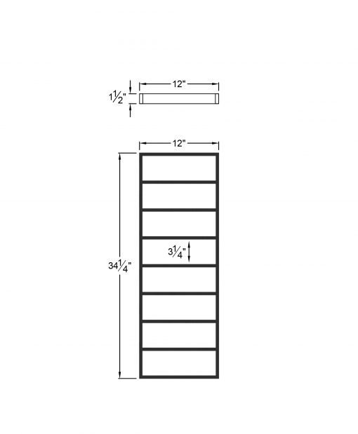 """PL-CE1239: 12"""" Level Panel for 39"""" Level Rail Height (Curb Wall or Elevated - 39"""" Level Rail Height) Dimensions"""