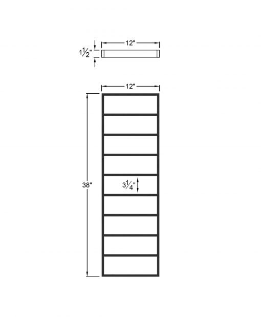 """PL-CE1243: 12"""" Level Panel for 43"""" Level Rail Height (Curb Wall or Elevated - 43"""" Level Rail Height) Dimensions"""
