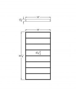 """PL-CE1839: 18"""" Level Panel for 39"""" Level Rail Height (Curb Wall or Elevated - 39"""" Level Rail Height) Dimensions"""