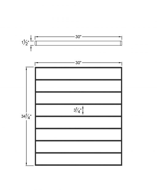 """PL-CE3039: 30"""" Level Panel for 39"""" Level Rail Height (Curb Wall or Elevated - 39"""" Level Rail Height) Dimensions"""
