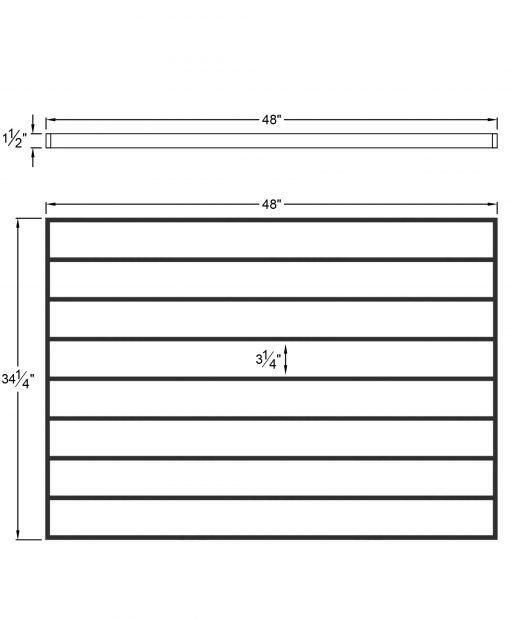 """PL-CE4839: 48"""" Level Panel for 39"""" Level Rail Height (Curb Wall or Elevated - 39"""" Level Rail Height) Dimensions"""