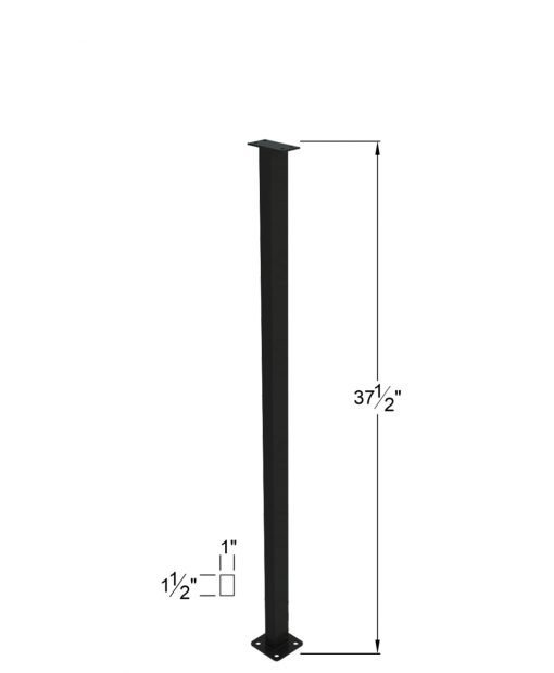 """PL-E39NWL4H: 37 1/2"""" Level Panel Spacer Newel for 39"""" Rail Height (Elevated - 39"""" Rail Height) - 4 Hole Base Plate Dimensions"""