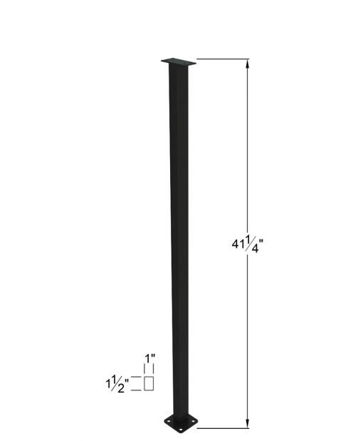 """PL-E43NWL4H: 41 1/4"""" Level Panel Spacer Newel for 36"""" Rail Height (Elevated - 36"""" Rail Height) - 4 Hole Base Plate Dimensions"""