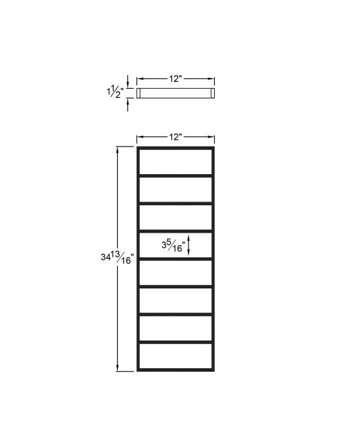 """PL-F1236: 12"""" Level Panel for 36"""" Level Rail Height (Flush Mount - 36"""" Level Rail Height) Dimensions"""