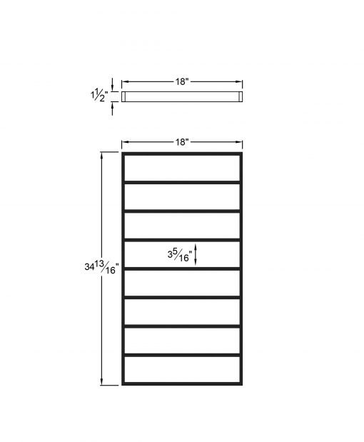 """PL-F1836: 18"""" Level Panel for 36"""" Level Rail Height (Flush Mount - 36"""" Level Rail Height) Dimensions"""