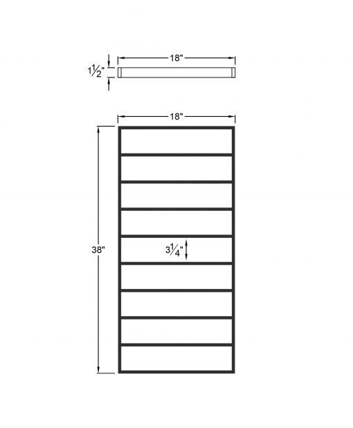 """PL-F1839: 18"""" Level Panel for 39"""" Level Rail Height (Flush Mount - 39"""" Level Rail Height) Dimensions"""