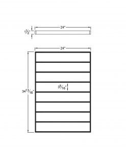 """PL-F2436: 24"""" Level Panel for 36"""" Level Rail Height (Flush Mount - 36"""" Level Rail Height) Dimensions"""