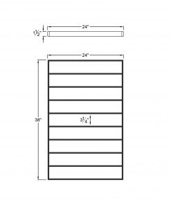 """PL-F2439: 24"""" Level Panel for 39"""" Level Rail Height (Flush Mount - 39"""" Level Rail Height) Dimensions"""
