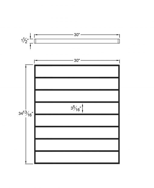 """PL-F3036: 30"""" Level Panel for 36"""" Level Rail Height (Flush Mount - 36"""" Level Rail Height) Dimensions"""