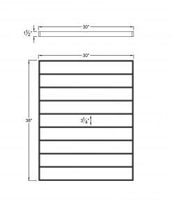 """PL-F3039: 30"""" Level Panel for 39"""" Level Rail Height (Flush Mount - 39"""" Level Rail Height) Dimensions"""