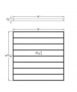 """PL-F3636: 36"""" Level Panel for 36"""" Level Rail Height (Flush Mount - 36"""" Level Rail Height) Dimensions"""