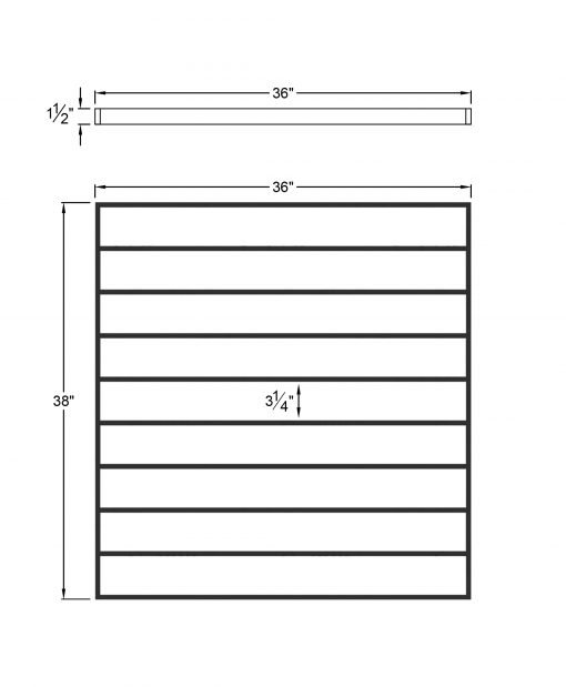 """PL-F3639: 36"""" Level Panel for 39"""" Level Rail Height (Flush Mount - 39"""" Level Rail Height) Dimensions"""