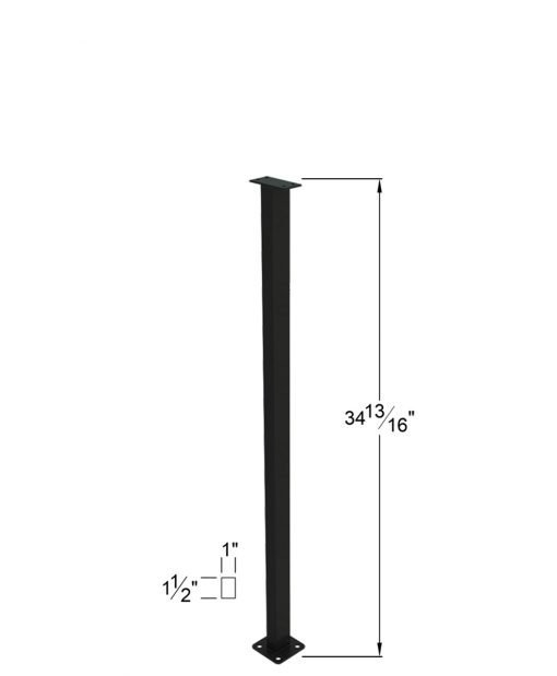 """PL-F36NWL4H: 34 13/16"""" Level Panel Spacer Newel for 36"""" Rail Height (Flush Mount - 36"""" Rail Height) - 4 Hole Base Plate Dimensions"""